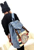 Wholesale Vintage Denim Work - Wholesale- Women School Shoulder Bag Vintage Lady Backpack Large Denim Travel Work Bag Satchel