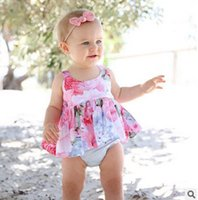Wholesale Cross Print Chiffon Top - Baby clothing INS toddler kids chiffon suspender tank top girls floral printed cross strap top princess infant 2017 new summer clothes G0177