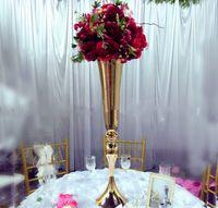 Wholesale metal vases for flowers - Slim metal flower vase , trumpet vases centerpieces for wedding & home decoration LLFA