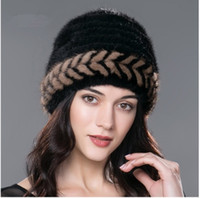 Wholesale Knitted Mink Fur Cap - Women's fur hat for winter warm knitted mink fur beanies caps 2017 brand new fashion luxury fur hats causal headwear