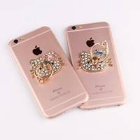 Wholesale iphone peacock - Universal Bling Stand Holder Diamond Peacock Hello Kitty Swan Camellia 360 Degree Finger Ring Holder For iPhone Huawei Samsung