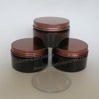 Wholesale Cosmetic Jars Gram - 20 x 100 gram Amber Empty Plastic Jar With Bonze Lid Makeup Bottle Cosmetic Packaging Hand Cream Containers Facial mask Jars