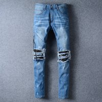 Wholesale Mens Designer Jeans 33 - Distressed Ripped Jeans For Men Brand Designer JUSTIN BIEBER Motorcycle Moto Biker Causal Denim Men's Pant Rock Star Punk Hip Hop Mens Jeans