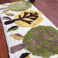 Wholesale Thick Shaggy Bathroom Rugs - Free Shipping cartoon green trees Washable New Thick micro fabric Carpet Shaggy Rugs Bathmat Bathroom Colours for living bed room anti slip
