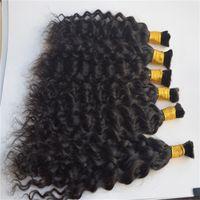 accesorio para el cabello humano al por mayor-Cabello humano a granel No Implementos barato brasileña natural del pelo de la onda en el cabello a granel para el trenzado Sin trama 3 lotes de reparto