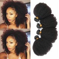 kıvırcık afro saç ürünleri toptan satış-3 Adet / grup Brezilyalı Afro Kinky Kıvırcık İnsan Saç, 100% Işlenmemiş Bakire Saç Örgü, 8-20 inç Brezilyalı Virgin İnsan Saç Ürünleri