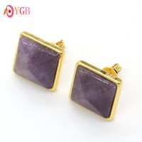 Wholesale Yellow Quartz Earrings Silver - wholesale 10Pair Yellow Gold Plated Natural Amethyst Quartz Gemstone Facted Stud Earrings Jewelry
