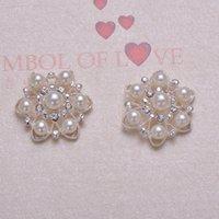 Wholesale 26mm Metal Rhinestone Buttons - (J0324) 26mm diameter elegant rhinestone metal embellishment,ivory pearl,silver plating