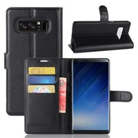 Wholesale Heavy Duty Leather - Flip Wallet Case For Samsung Galaxy Note8 TPU Leather Bookcover for Galaxy Note8 heavy duty case with kickstand