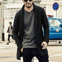 Wholesale Cardigan Style Wool Coats - brand Loose Long Mens Cardigans Sweaters mens Knitwear Sweater flower grey male Casual cardigan masculino coat 2016 autumn