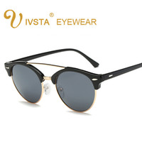 Wholesale Korean Eyeglasses - IVSTA 2017 Cat eye sunglasses Women Korean style Pilot glasses female Men eyewear retro eyeglasses woman 1156