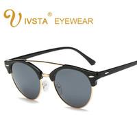Wholesale black korean style glasses - IVSTA 2017 Cat eye sunglasses Women Korean style Pilot glasses female Men eyewear retro eyeglasses woman 1156