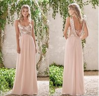 Wholesale Sparkly White Chiffon Wedding Dresses - 2017 Sparkly Sequined Bridesmaid Dresses Cheap Long A-Line Spaghetti Straps Pleated Wedding Guest Dress Floor Length Chiffon Party Gowns