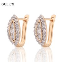 Atacado- GULICX Fashion New Eye Earrings para mulheres Gold-color Hoop Earrings White Crystal CZ Earing Wedding Jewelry E192