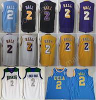 Wholesale College Style - 2017 New Style 2 Lonzo Ball 2018 Basketball Jerseys Sale Washington Huskies UCLA Bruins Lonzo Ball College Jersey Throwback White Purple Bla