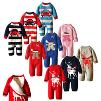Wholesale Newborn Winter Cotton Cartoon Christmas Baby Rompers Todder Cute Long Sleeve Baby Boy Girl Jumpsuit Fleece Ropa Bebes Costume