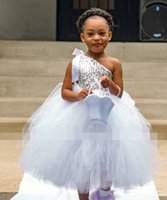 Wholesale tutu dress one shoulder - 2017 Cheap Silver Sequins Tutu Flower Girls Dresses One Shoulder Floor Length Puffy Ball Gown Girls Birthday Party Gown First Communion Dres