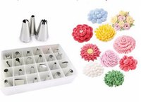 Wholesale decorating stocking flowers - 24 set Stainless Steel Bakeware Cake Cookies Cream Puffs Crowded Flower Pastry Tips Suit Kitchen Accessories DIY Cake Decorating