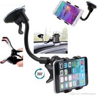 держатели для автомобильных телефонов для iphone оптовых-Универсальный 360° в лобовое стекло автомобиля приборной панели держатель крепление подставка для iPhone Samsung GPS КПК мобильный телефон черный)