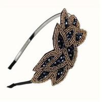 Wholesale christmas hair accessory online - Crystal Beaded Headband Leaf Vintage Inspired Hairband Hair Accessories for Women Wedding Hair Jewelry Korea Headdress Fa shion