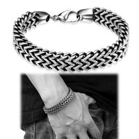 Wholesale Men Accessories Sale - Link Design Bracelet Punk Style Vintage Jewelry Men Titanium Accessories European and American Hot Sale 316L Stainless Steel Chain Bracelet