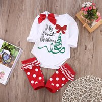 Wholesale Baby Rompers Sleepwear - Christmas Toddler Rompers Suit Newborn Baby Boutique Grils Clothes Infant Romper Legging Warmer Pajamas Sleepwear Leotards New Year Jumpsuit