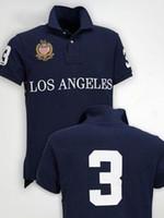 polo numero polo al por mayor-Summer Paris Polo Shirt Estados Unidos Bandera americana Italia Marca Polos Miami Sao Paolo Hombres manga corta Sport Polo Hombre camisetas Número 5