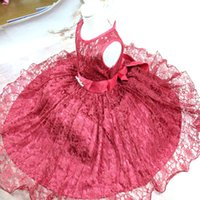 ingrosso vestito blu dalla principessa 3t-2017 new a Kids Princess Dress Skirt Bambini Piacere Lace Dress Skirt Red Black White Dress