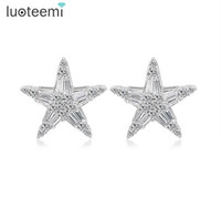 Wholesale Star Shaped Crystal Earrings - Exquisite Beautiful Women Charm Star Shape Stud Earrings For Women New Fashion CZ Crystal Silver-Color Ear Jewelry LUOTEEMI