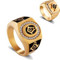 Wholesale hot wedding masonic rings for sale - Group buy Stainless steel Masonic Band Rings gold men s White crystal rhinestones diamond Biker Ring For men s Fashion Jewelry Hot sale