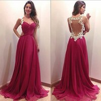 Wholesale Evenign Dresses - Formal Long Dresses Elegant Fuchsia Red Evenign Gown Prom Dresses Evening Wear Ruched Chiffon Sheer Back Sleeveless Unique Appliques