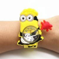 Wholesale Dad 3d Glasses - 3D Eye Despicable Me minions Precious Milk Dad Children Watches Slap Snap On Silicone Quartz Wrist kids Watch