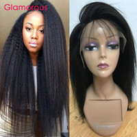 Wholesale Indian Yaki Remy Hair - Glamorous Light Yaki Straight Hair Wigs Full Lace Wigs Brazilian Indian Mongolian Cambodian Human Hair Lace Front Wig for Black Women