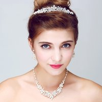 Wholesale Tiara Sets For Bride - Silver Rhinestone Wedding Jewelry Sets Handmade Pearl Necklace Earrings Set Fashion Wedding Jewelry Sets For Brides With Tiara