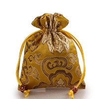 Wholesale Rich Jewelry - Thicken Rich Flower Small Cloth Gift Bags Drawstring Silk Brocade Jewelry perfume Makeup Tools Storage Pouch Candy Tea Favor Bag Packaging