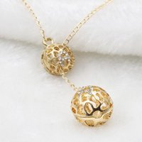 Wholesale Sphere Charm - High quality spherical flash diamond spherical necklace Gold-plated hollow sphere pendant necklace