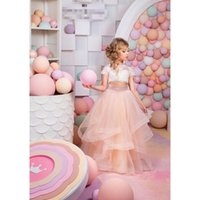 Wholesale Sweet Cute Images - 2017 Hot Sale Sweet Kids Lace Flower Girl Dress Short Sleeve Elegant Cute Princess Floor Length Wedding Beautiful Child Dress