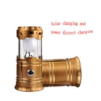 Wholesale Portable Usb Retractable - Retractable Outdoor Tent USB Solar Camping Lamp LED Lantern Light For Hiking Emergencies 6 LED Portable Lantern Lamp in Outdoor Lighting