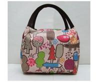 Wholesale canvas floral lunch bag resale online - 50pcs New Mix Color Stripe Canvas lunch bag New Fashion Women s Handbag Lady Tote Baby Bag Portable beach storage bag