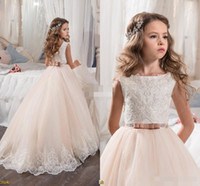 Wholesale Flower Appliques For Dresses - 2017 Vintage Flower Girl Dresses For Weddings Blush Pink Custom Made Princess Tutu Sequined Appliqued Lace Bow Kids First Communion Gowns