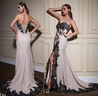 Wholesale Evening Dress Slit Design - slit white with black lace evening dresses 2017 crystal design bridal sweetheart neckline lace sheath evening gowns party dresses