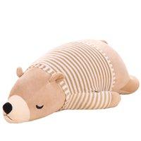 Wholesale Polar Stuff - 50cm big lovely brown polar bear with Striped plush toy lovely stuffed polar bear doll kids gift