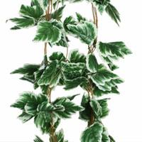 künstliche weiße blumen girlande großhandel-10 Teile / los Künstliche Big Leaf Weiße Traube Ivy Leaf Garland Pflanzen Vine Gefälschte Laub Blumen Hochzeit Hauptdekorationen 7,5 Füße