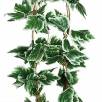Barato Guirlandas De Uvas Artificiais-10Pcs / Lot Artificial Big Leaf White Grape Ivy Leaf Garland Plantas Vine Fake Foliage Flores Wedding Home Decorações 7.5Feet