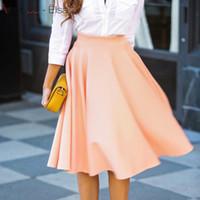 Wholesale Womens Short Loose Dress - VARBOO_ELSA skirt Womens pink Knee Length Pleated skirt for women Elegant summer skirt girl loose red beach short Dresses saia feminina