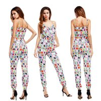 Western Style New Printed Sling Shorts Calças 2017 Moda Summer Women's Jumpsuits Cheap Womens Clothing Plus Size