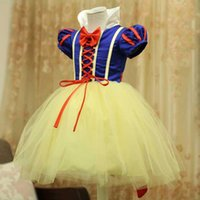 Wholesale Kids Party Gowns Designs - New design girl snow white princess costumes cosplay cute kids performance clothes cartoon Christmas dress party clothing