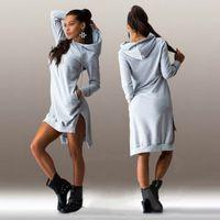 Wholesale- 2016 Women Jumper Dress Hooded Sweatshirt Vestidos Winter Sweater Dress Sexy Long Sleeve Loose Casual Tunic Hoodie