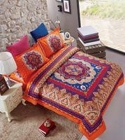 Wholesale Orange Comforters Duvets - 4pcs Microfiber Fabric Orange Tone Boho Style double bedding set Euro 1.5m bohemian duvet cover