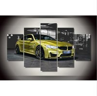 Wholesale free sports posters - Canvas painting new 5 pieces Yellow Sports Car Painting children's room decor print poster picture canvas Free shipping